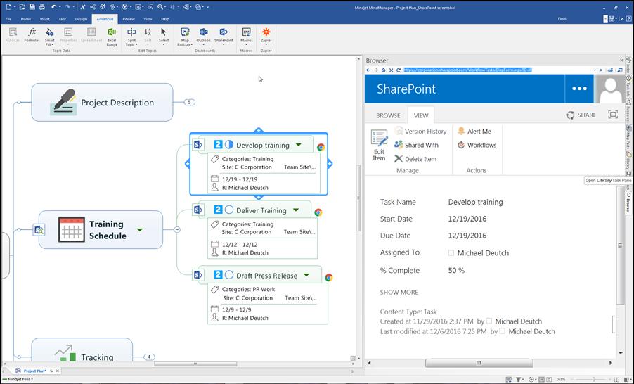 MindManager Enterprise 2017 - SharePoint integration